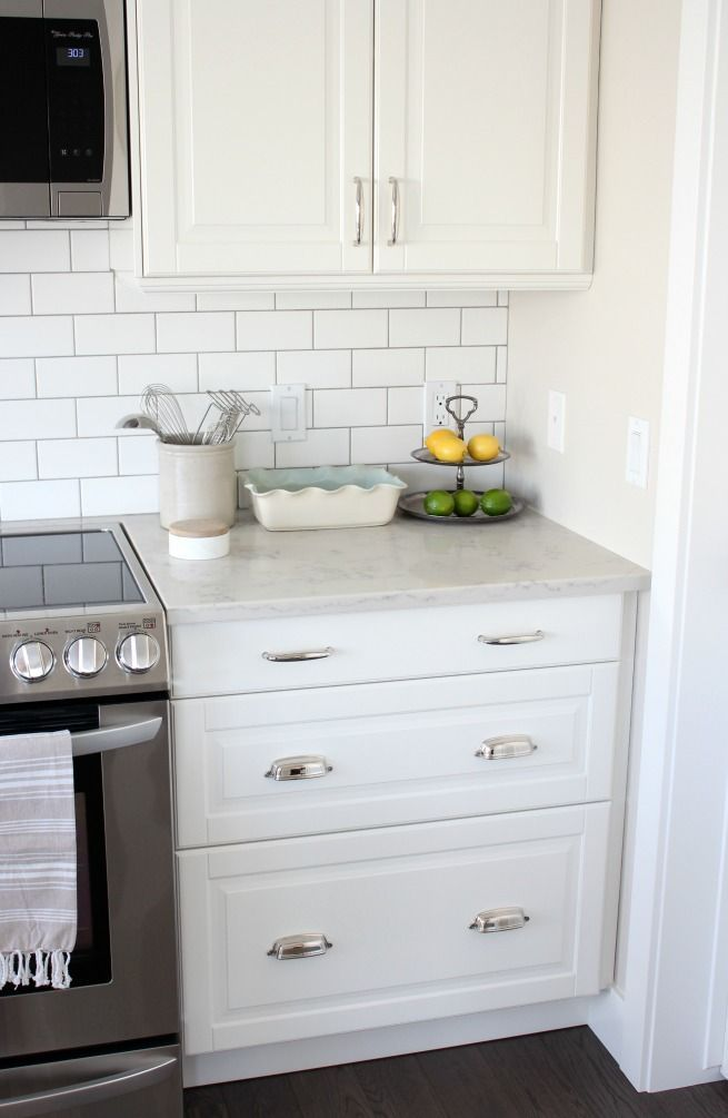 Kitchen Makeover With White Ikea Kitchen Cabinets, Subway Tile Backsplash  And Marble Quartz Countertop