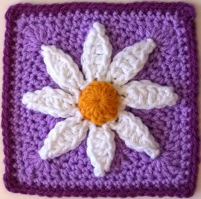 Free Pattern] This Lovely, Floral 6 Inch Square Is Striking In It\'s ...