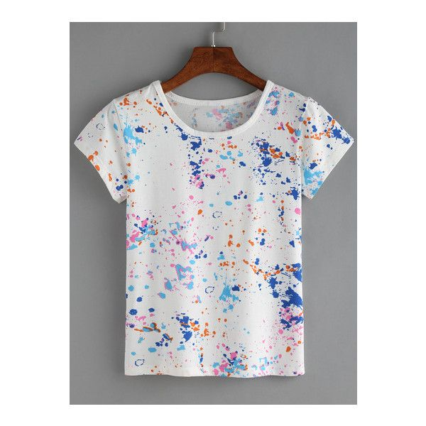 SheIn(sheinside) Colorful Paint Splash T-shirt (23.330 COP) ❤ liked on Polyvore featuring tops, t-shirts, t o p s, white, colorful t shirts, short sleeve summer tops, white t shirt, colorful tops and white summer tops