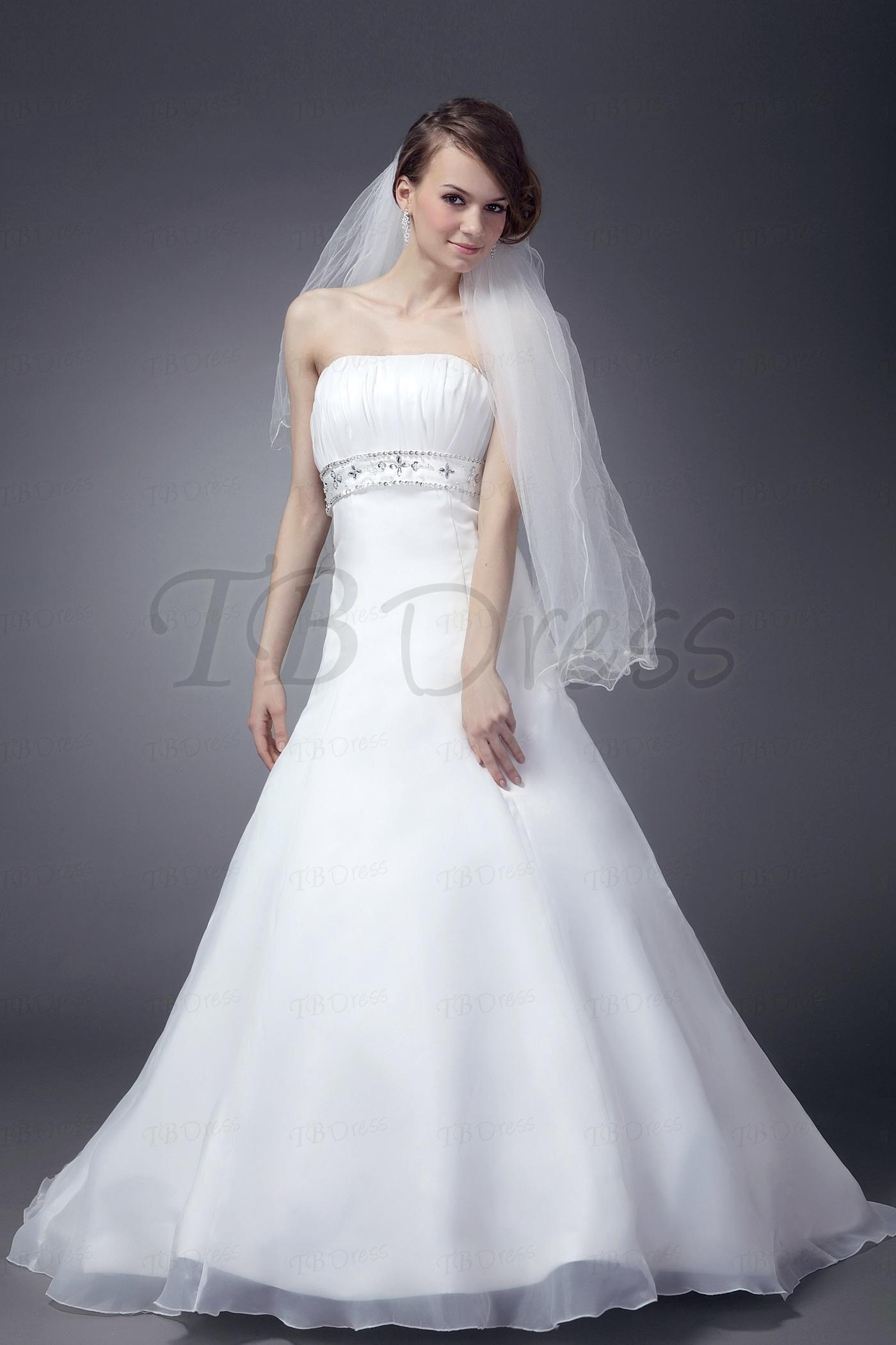 Nice dresses for wedding  Pretty Strapless Aline Beaded Court Nancyus Wedding Dresses SB