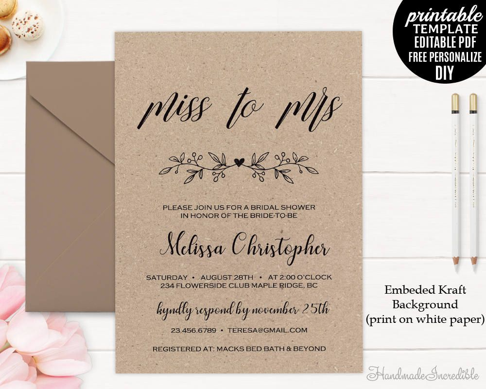 This is an image of Printable Bridal Shower Invitations within birthday