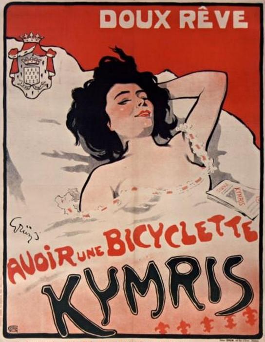 Poster By Jules Alexandre Grun 1868 1938 1900 Doux Reve Avoir Une Bicyclette Kymris Paris To Dream About A Bicyclette Affiche Vintage Vieille Publicite