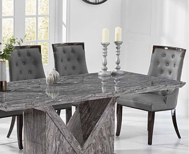 Mocha 180cm Grey Marble Dining Table With Angelica Chairs Marble