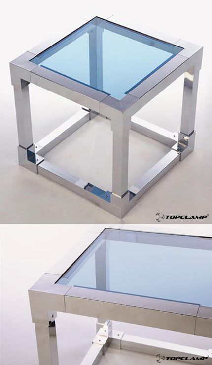 Cubic coffee table made with Topclamp square tube connectors
