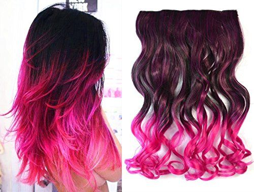 Dark brown to hot pink two colors ombre hair extensions synthetic dark brown to hot pink two colors ombre hair extensions synthetic hair clips in extensions pmusecretfo Choice Image