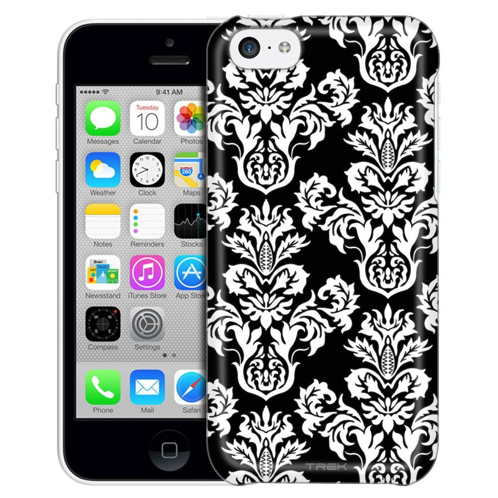Apple iPhone 5C Damasks Floral White on Black Case
