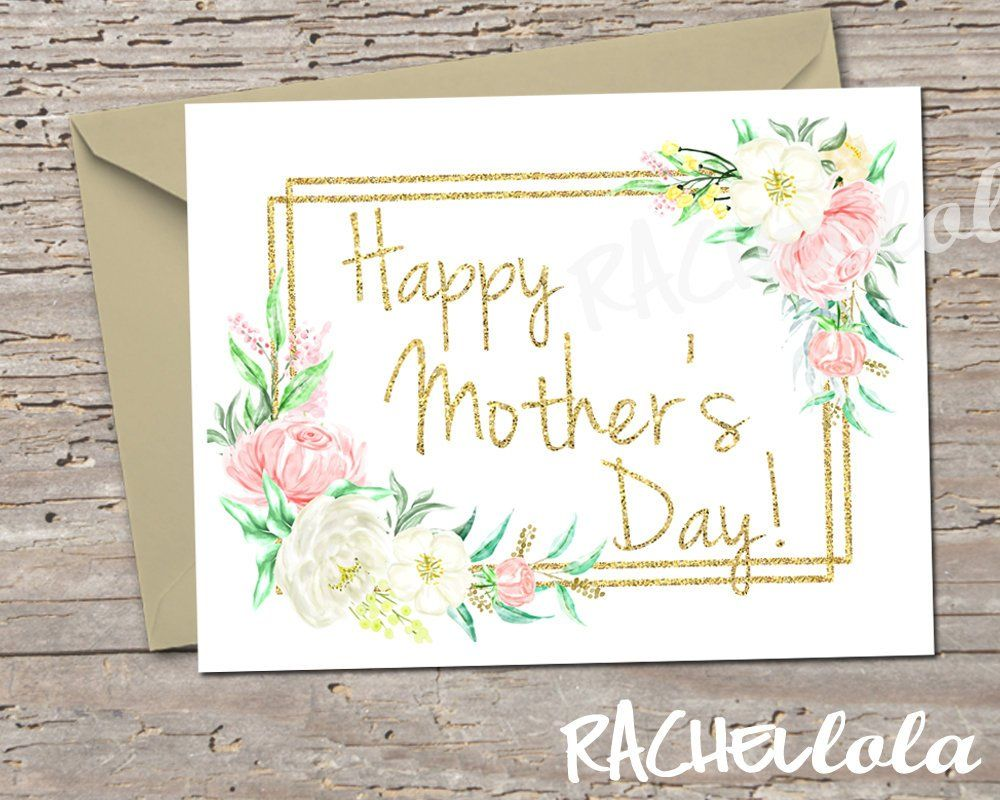 Gold Floral Printable Mothers Day Note Card Template Blank