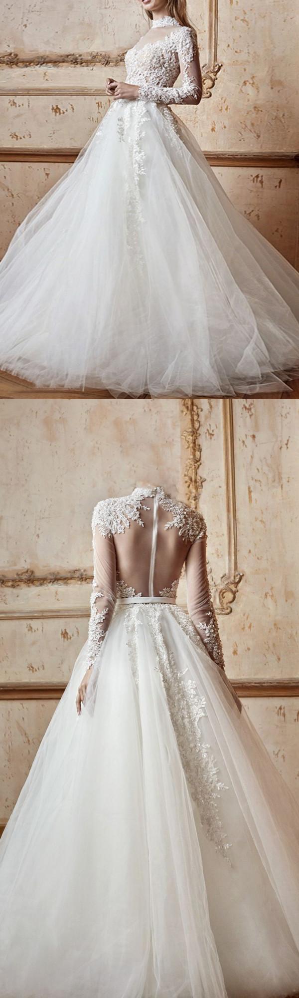 Aline high neck floorlength long sleeve tulle wedding dress