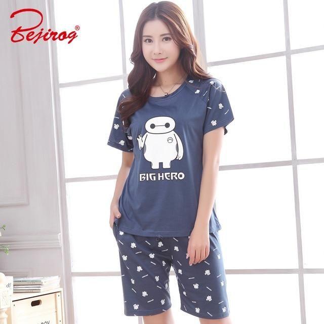 d420f696d0 Bejirog 2018 female pajamas set short sleeved sleep clothing+pant women  sleepwear plus size cotton