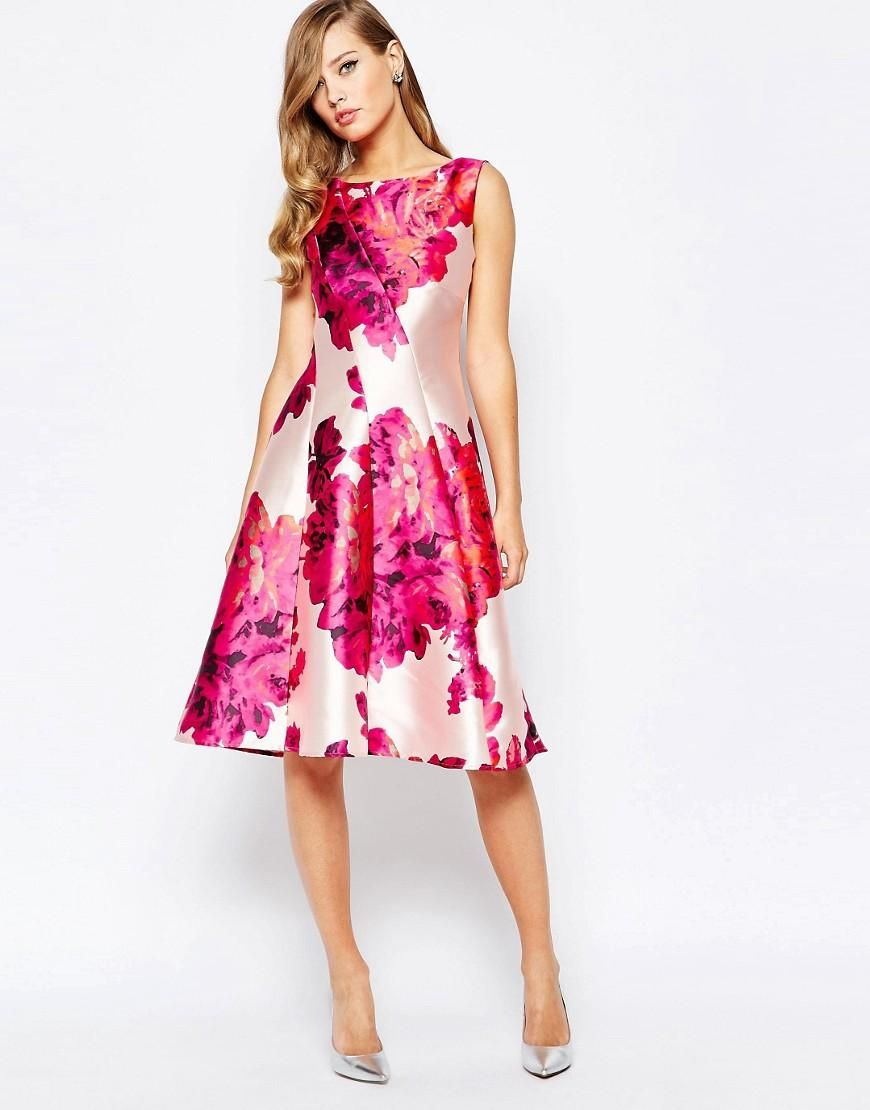 True Violet | True Violet Full Sateen Skater Dress In Bold Floral Print at ASOS