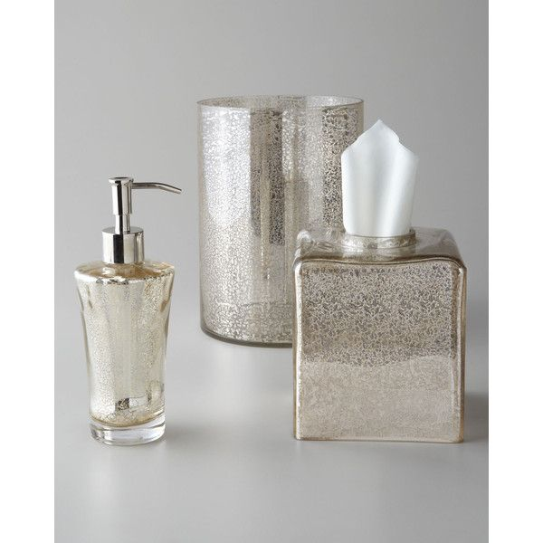 silver crackle glass bathroom accessories. Vizcaya Vanity set Crackled silver mercury tissue box cover soap dispenser  trash can liked on