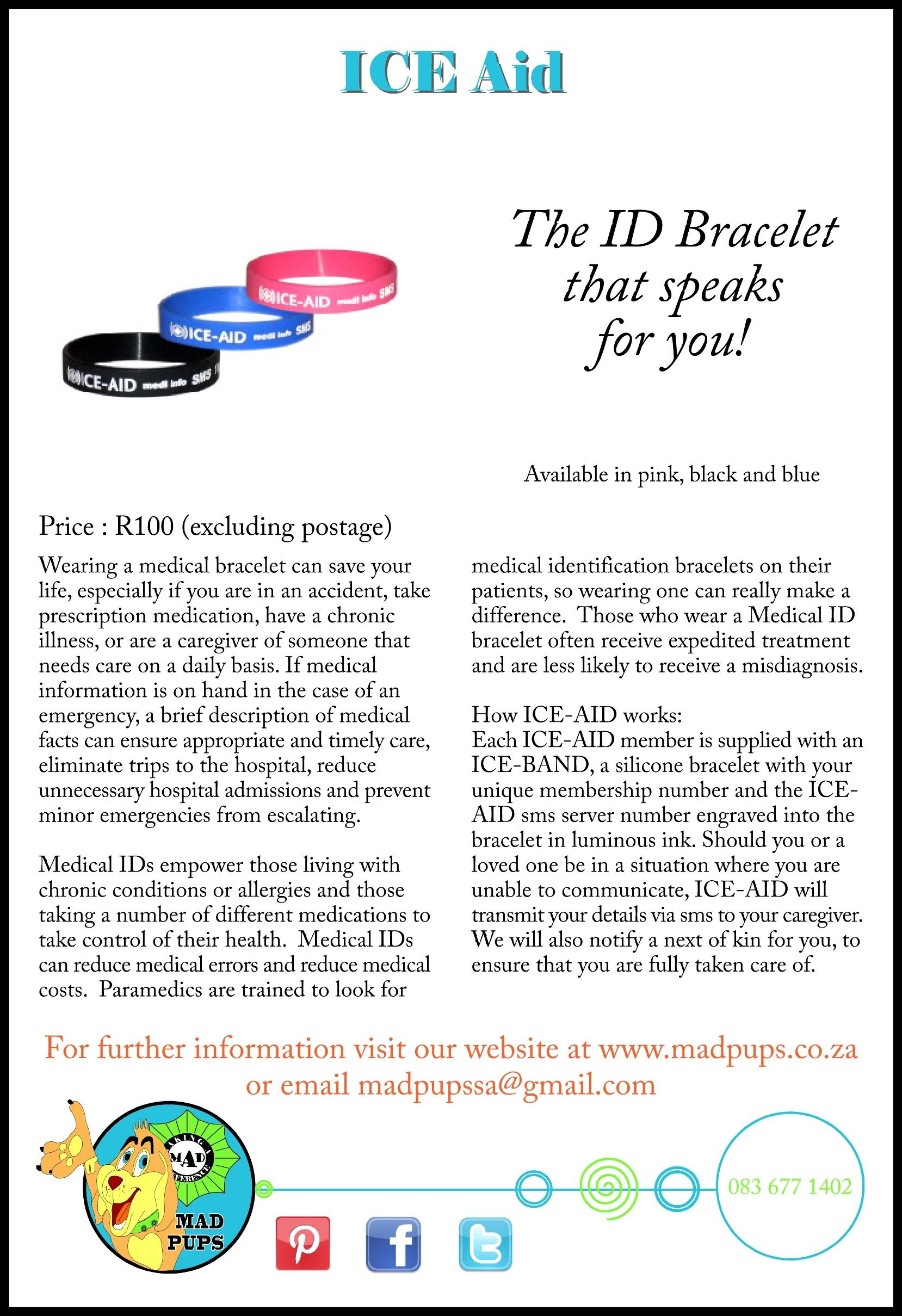 The ID bracelet that speaks for you! Available from www.madpups.co.za