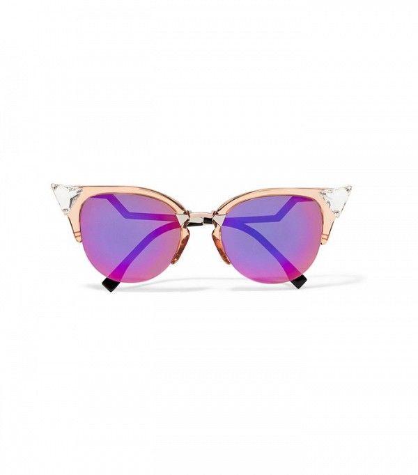 20a445c1d13 Fendi Swarovski Crystal-Embellished Cat-Eye Acetate and Metal Sunglasses