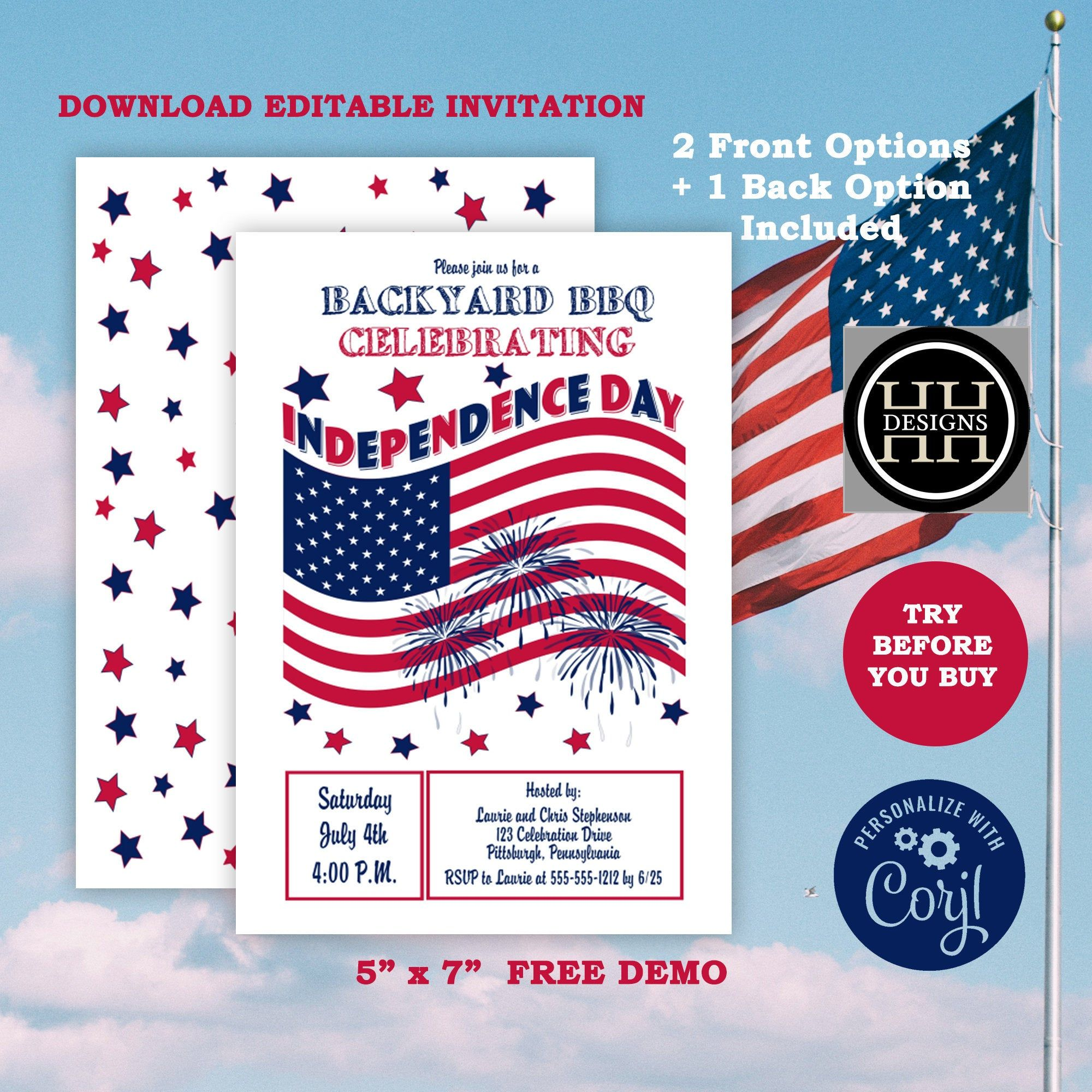 Waving Flag Independence Day July 4th Party Invitation 5 X 7 Editable Corjl Invitation Te In 2020 Invitation Template Editable Invitations Independence Day Theme