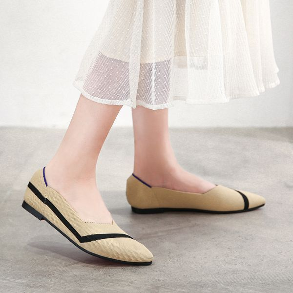 Beige Kint Flat Shoes Ballet Loafers Shoes
