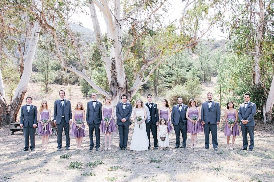 Charcoal Groomsmen Tuxedos, And Dusty Lavender Bridesmaid