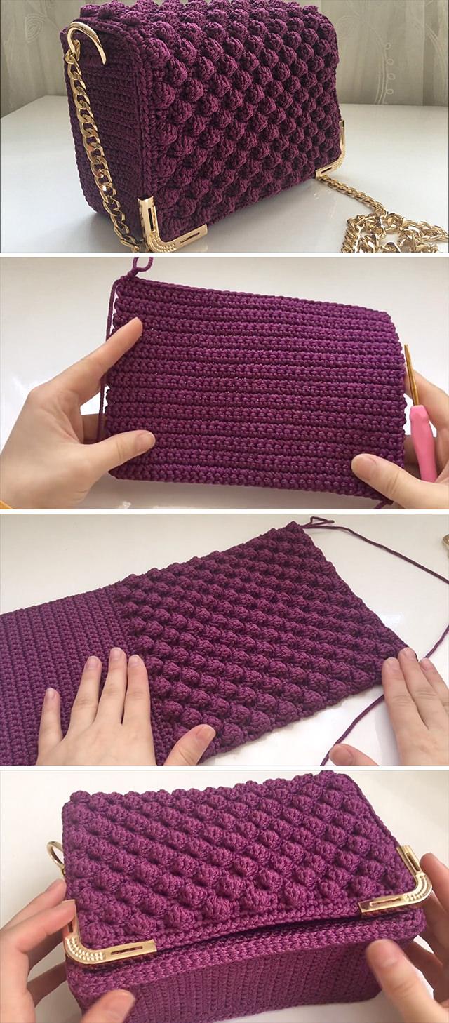 How To Crochet Popcorn Stitch Bag | CrochetBeja
