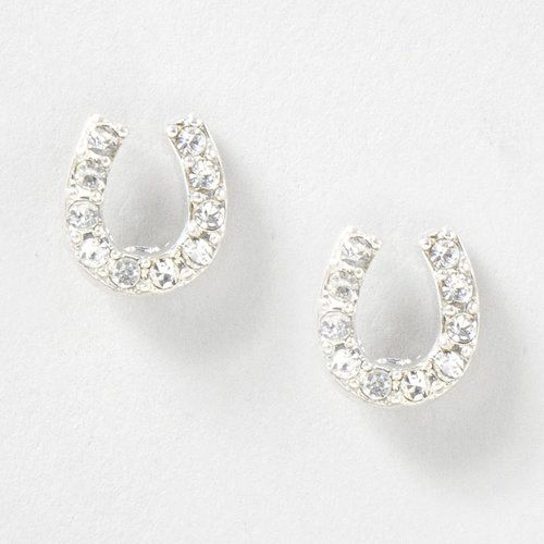 Crystal Horseshoe Stud Earrings Claire S