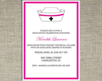 Diy Nursing Graduation Invitations  Nursing School Graduation