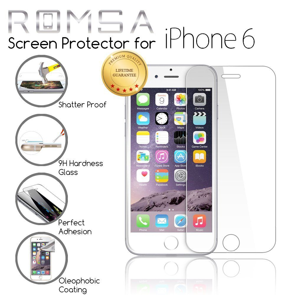 Amazon.com: iPhone 6 Screen Protector by ROMSA, Oleophobic and Scratch Resistant Screen Protection, Durable Shatter Resistant Tempered Glass Shield for Apple (4.7 Inch), 100% Money Back Guarantee: Cell Phones & Accessories