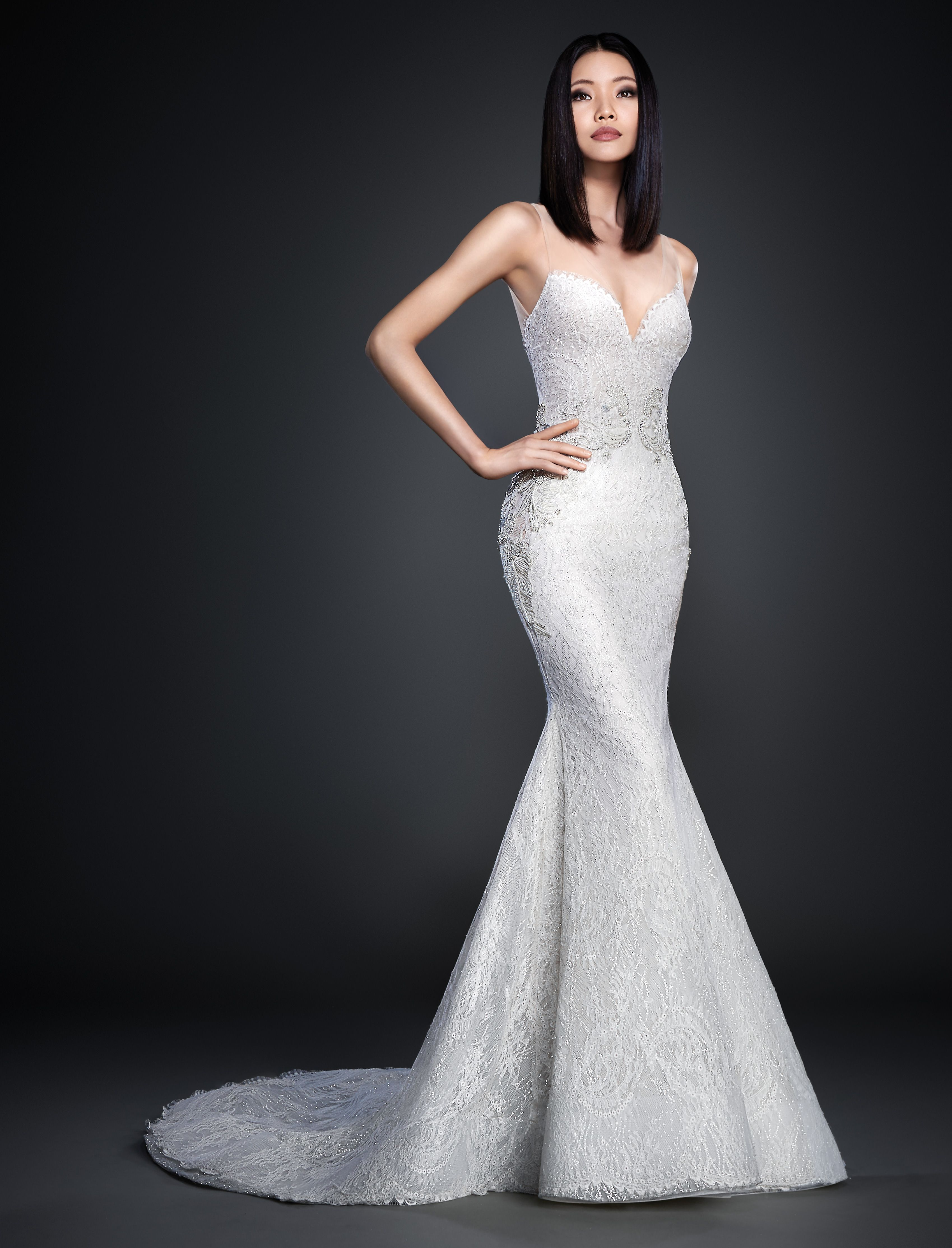 NEW AT JJ KELLY Ivory Chantilly Lace Over Silver Shimmer Tulle Trumpet Bridal Gown
