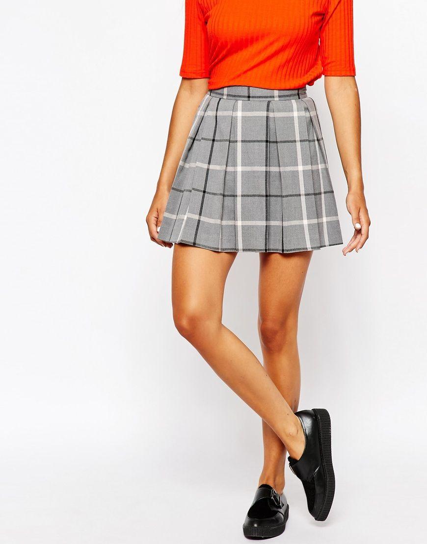 500c71bd14 Monki Pleated Check Mini Skirt en 2019   Fashion.