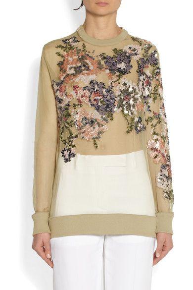Givenchy sheer silk-organza sweatshirt with sequin roses