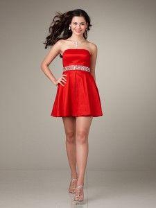 Vestidos de dama de honor cortos rojos