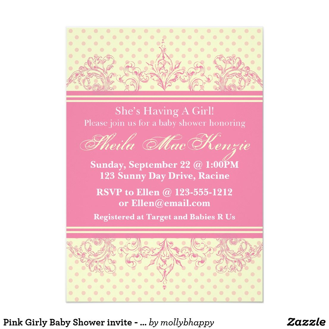 Pink Girly Baby Shower invite - customize This is a cute baby shower ...