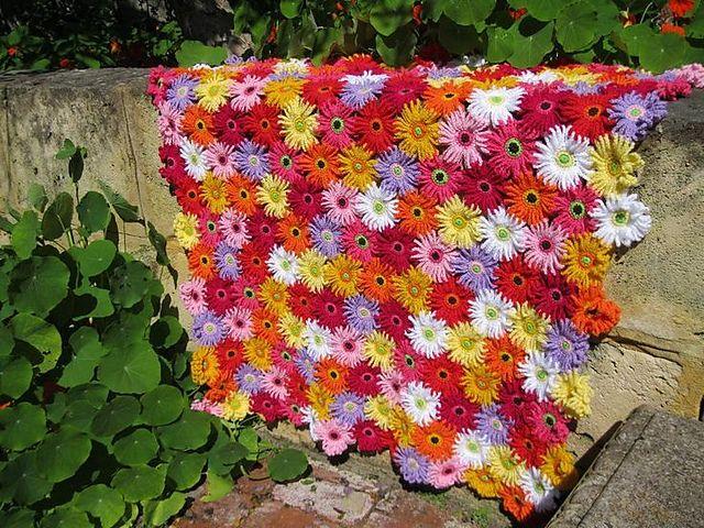 Gerbera Garden Blanket Crochet Flower Blanket Flower Blanket Crochet Throw Blanket