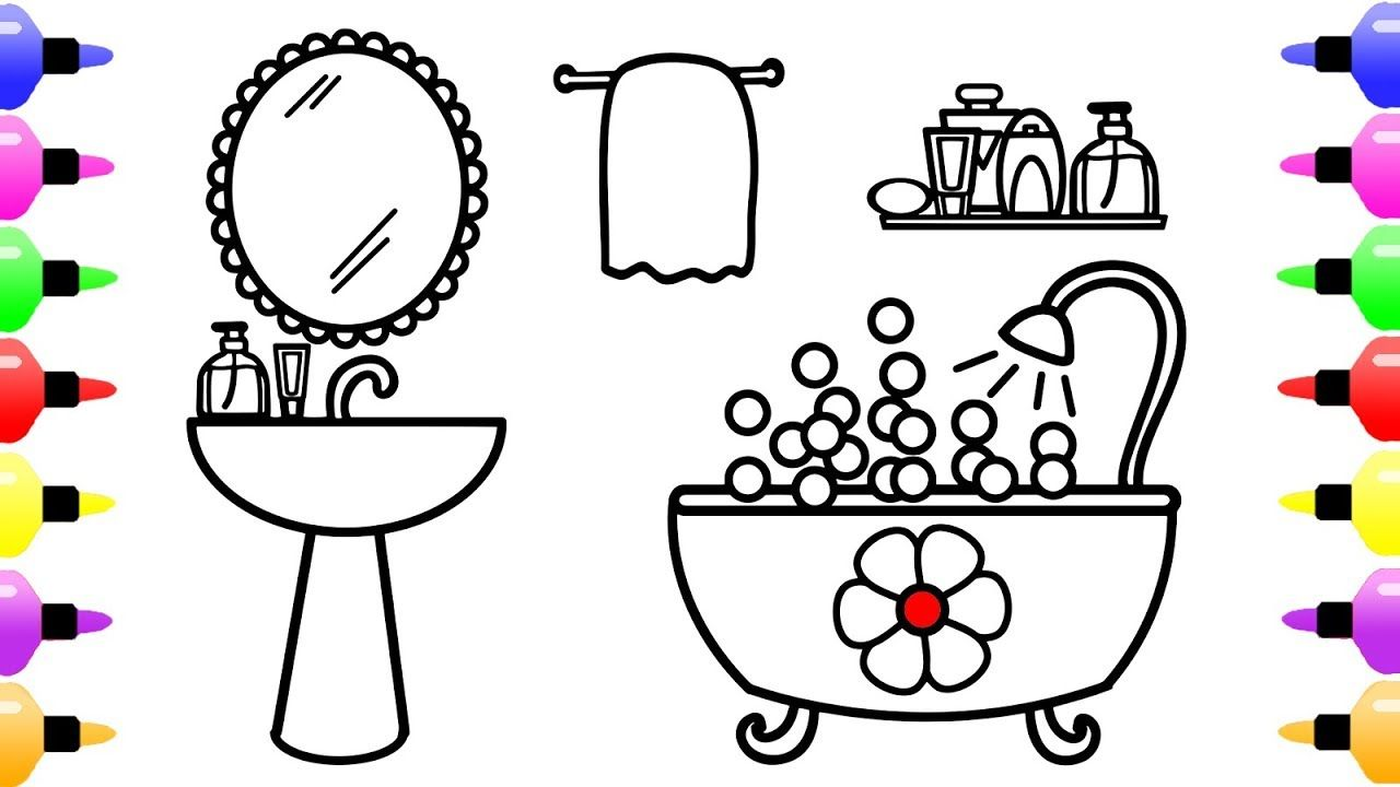 How To Draw Bathroom Coloring Page For Kids Coloring Book For Children Tekenen