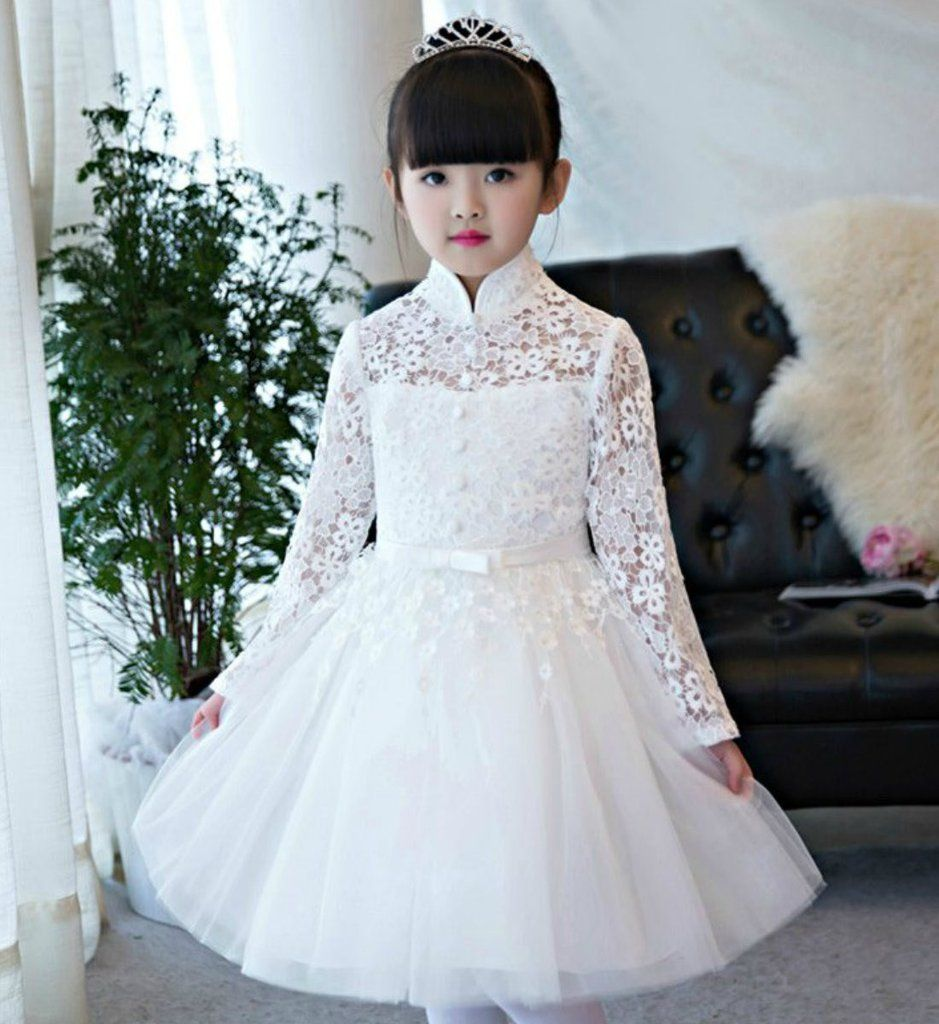 Embroidered High Neck Party Dress Elegant White Red Long Sleeve Embroidered Mandarin Collar Baby Kids Party Wear Dresses Flower Girl Dresses Frocks For Girls [ 1024 x 939 Pixel ]