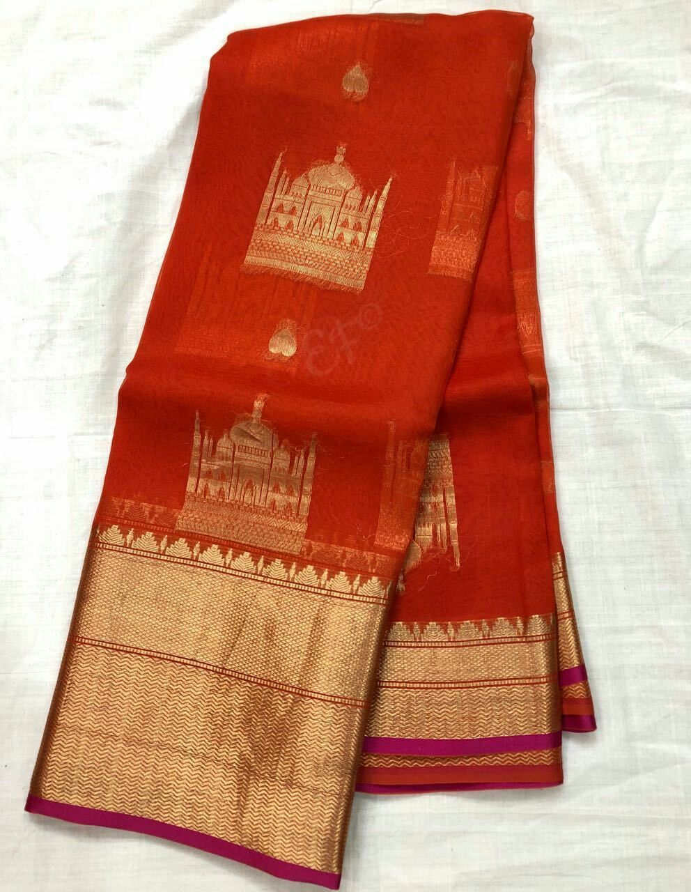 Pure Kanchi Organza Sarees with Contrast Brocade Blouse