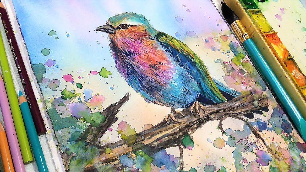 Lilac Breasted Roller Watercolor Colored Pencil Sketchbook