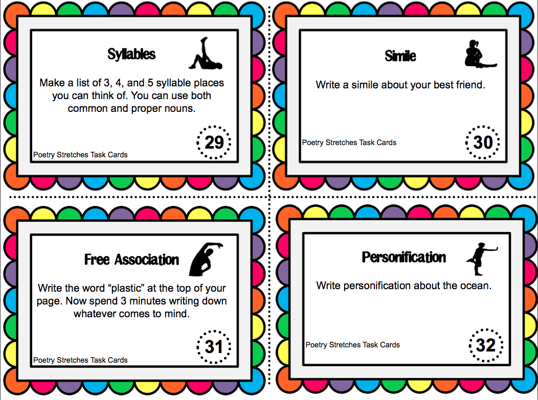 Poetry Stretches 52 Task Cards To Prepare Students For Writing Poetry