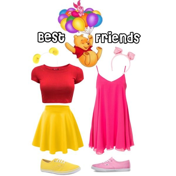 Best Friends Pooh Bear and Piglet by halloweeninspo on Polyvore featuring  Oneness, LE3NO and Vans