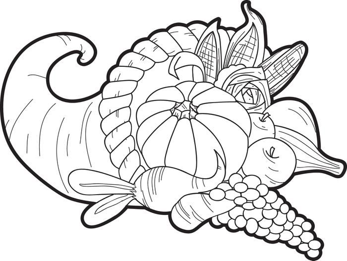 Cornucopia coloring page embroidery free printable and for Cornucopia coloring pages printable