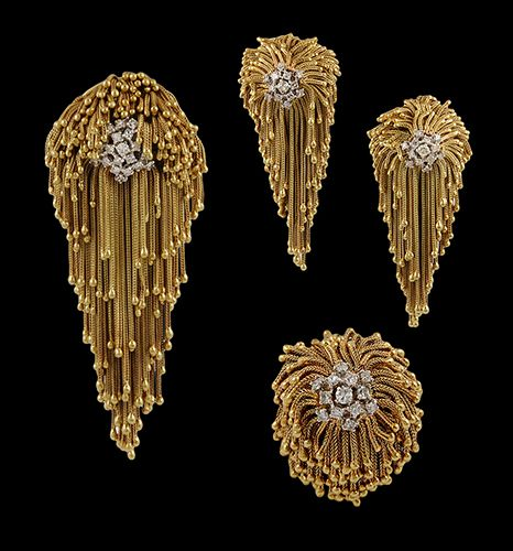 Circa 1970's 18kt. Gold Shaggy Suite Pendants....