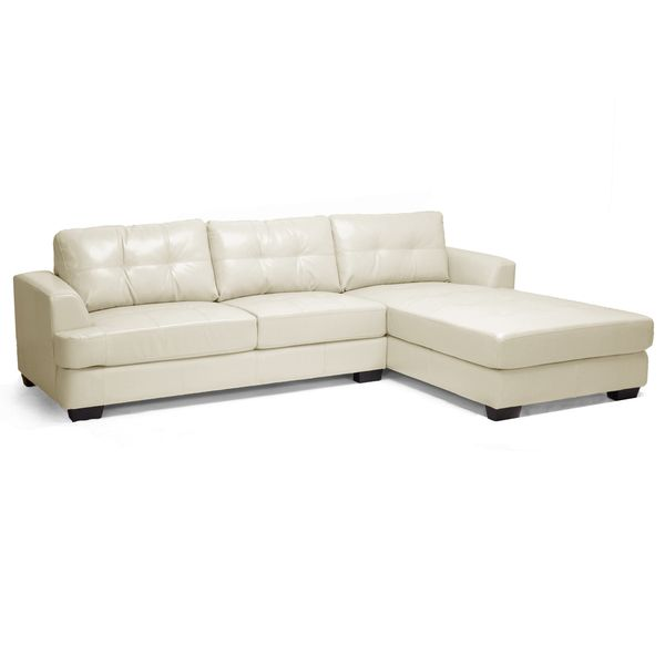 Baxton Studio Cream Leather Sectional Sofa Overstock Shopping Big Discounts On Baxton