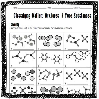 Classifying Matter: Mixtures and Pure Substances Worksheet ...