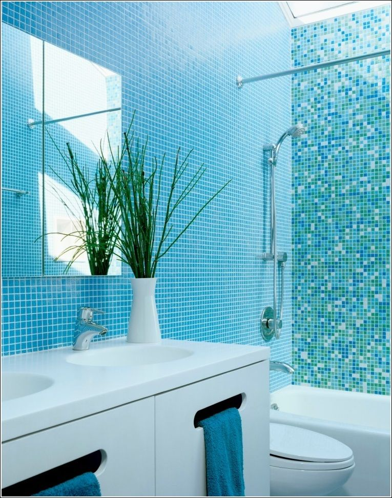 This Bathroom Is A Total Aqua World That Designed With Coloured Tiles As If