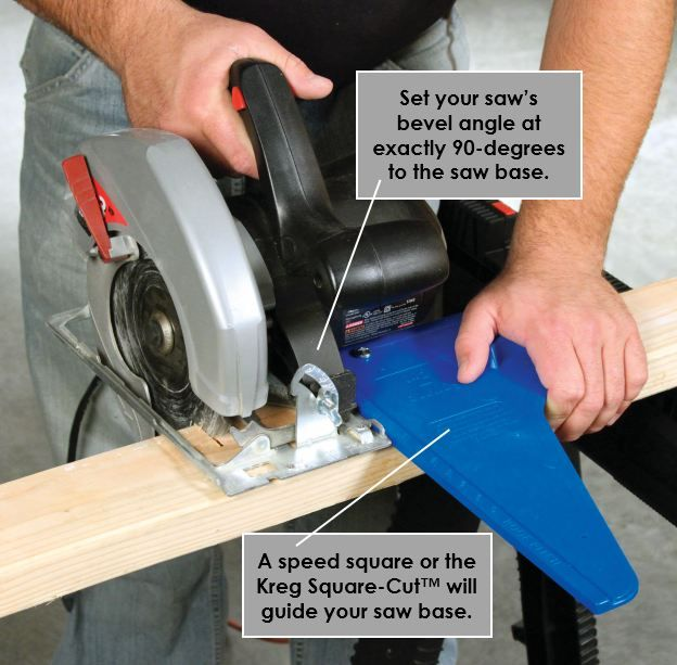 Kreg Tool Tip Ensure Straight Square Circular Saw Crosscuts First Control Your Saw Using A Speed Square Or A Kreg Jig Projects Kreg Tools Circular Saw Jig