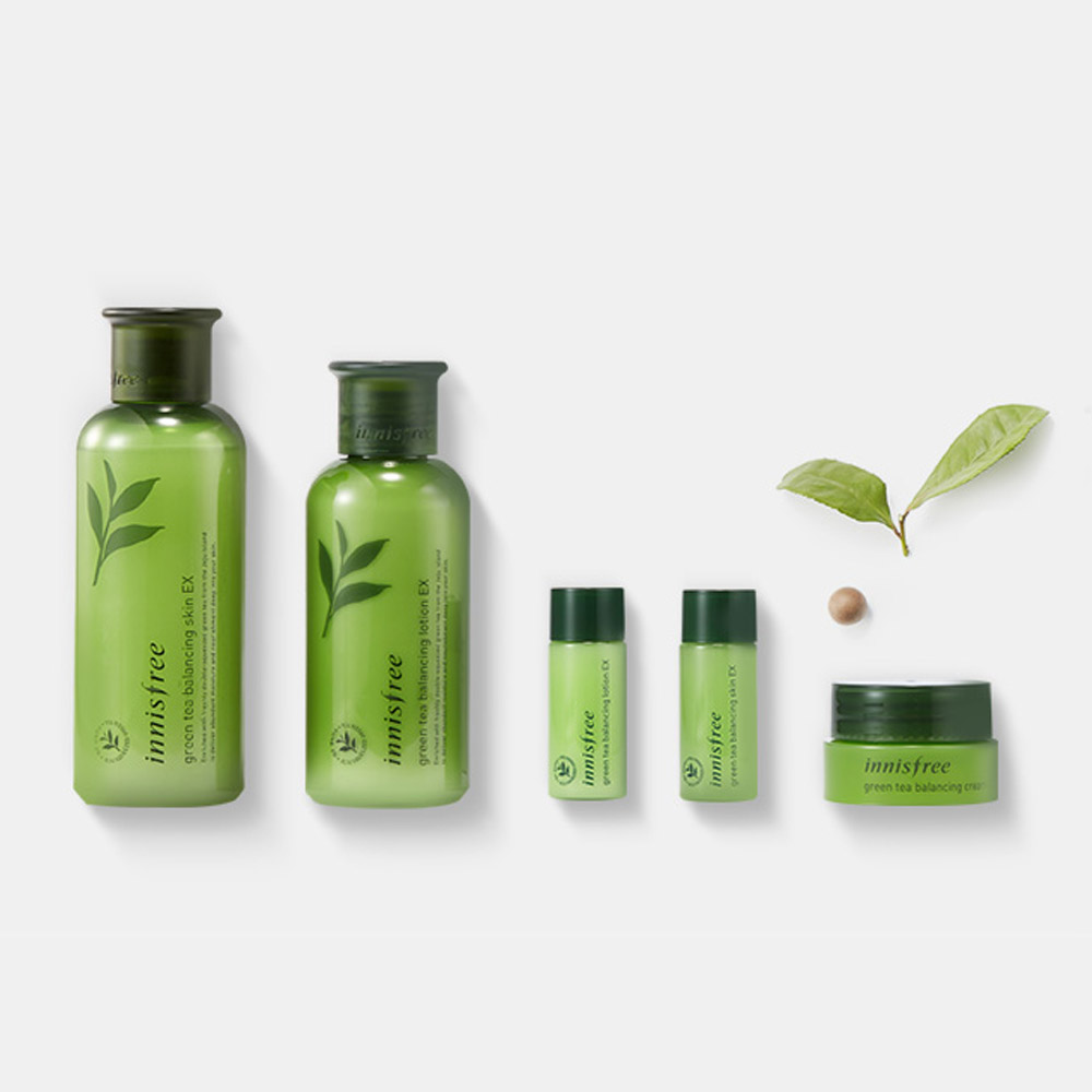 Innisfree Green Tea Balancing Skin Care Set Ex 1 Set 5 Pcs At Beautytap Skincare Set Skin Balancing Green Tea