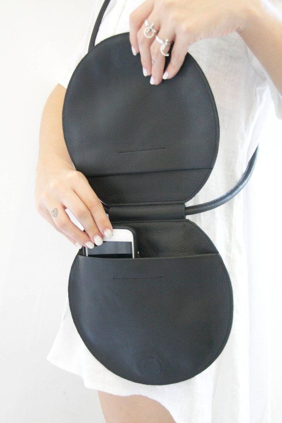 Runde schwarze Ledertasche Kreis Tasche Runde Tasche Runde | Etsy
