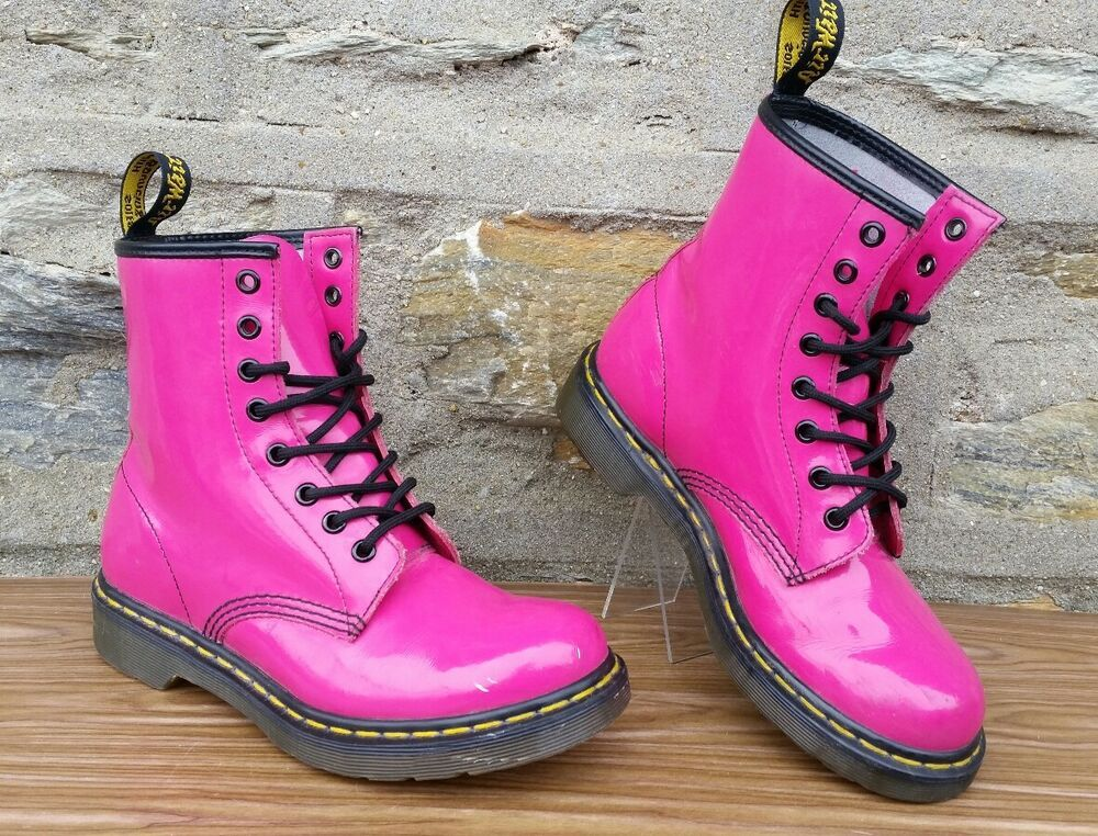 Dr Martens 1460 W Hot Pink Patent Lamper 8 Eye Boots Womens Us 7 Eu 38 Fashion Clothing Shoes Accessories Womensshoes Boots Ebay Link Boots Hot Pink Combat Boots
