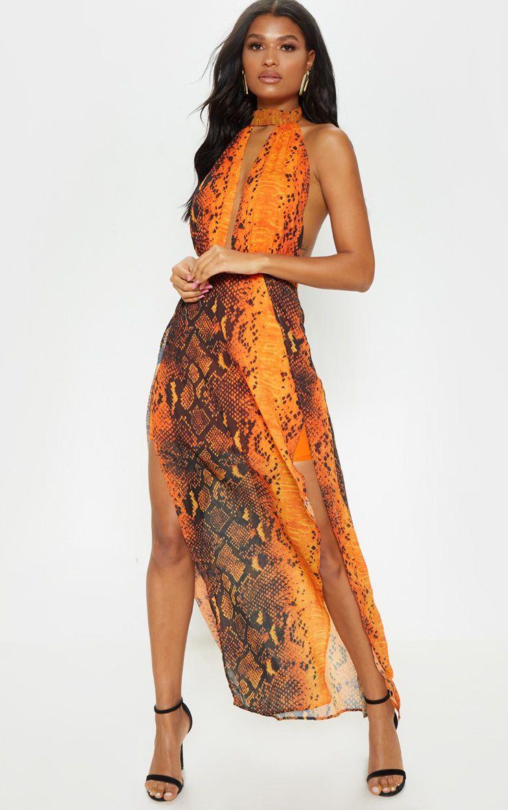 40417809e9e271 Leala Orange Snake Print Maxi Dress in 2019