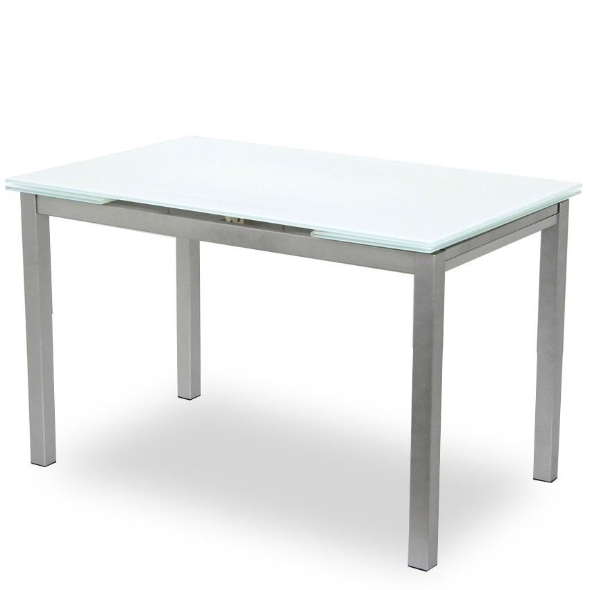 Extendable Dining Table White Glass Pearl Legs Dining Table