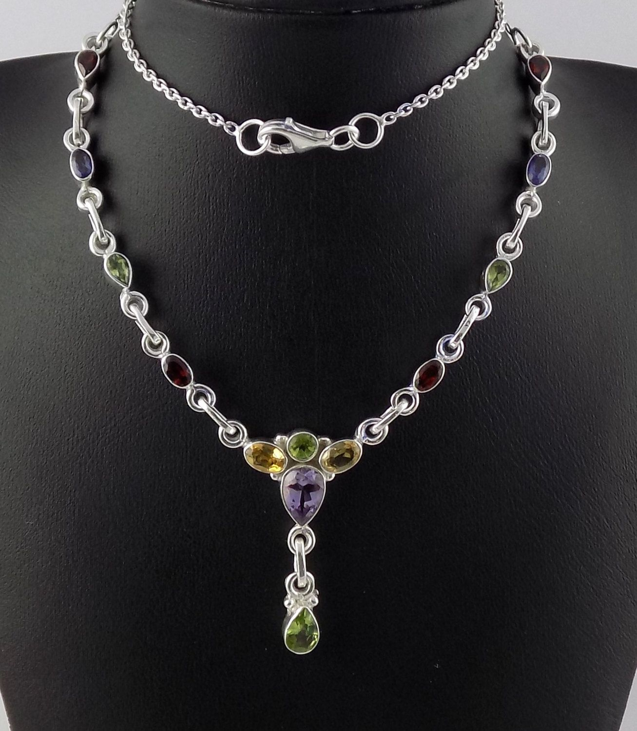 """Multi Cut Stone Faceted Handmade Gemstone Fashion Jewelry Necklace 18/"""""""