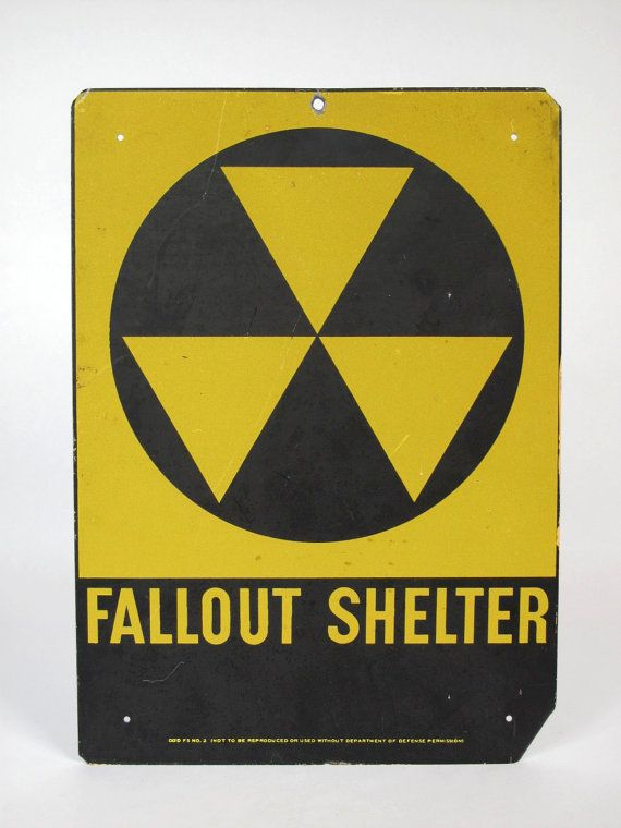 Fallout Shelter Nostalgia >> Authentic 1950's Fallout Shelter Sign, Cold War Era, Department of Defense, Black, Yellow | shop ...