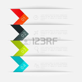 graphic design: Set of colorful text box with steps, trendy colors.  Illustration